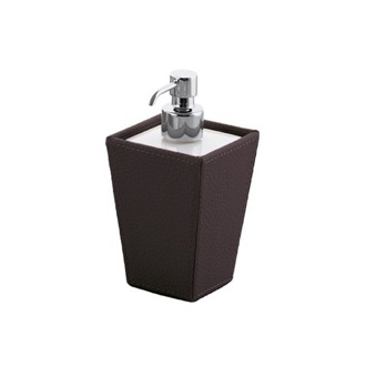 Soap Dispenser Square Wenge Faux Leather Soap Dispenser 1581-19 Gedy 1581-19
