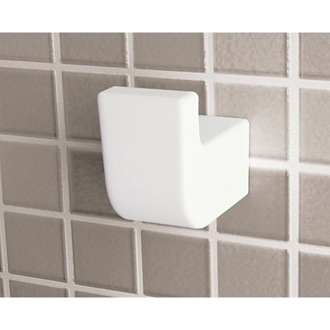 Bathroom Hook White Wall-Mounted Single Robe or Towel Hook 2226-02 Gedy 2226-02