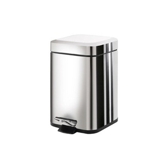 Square Polished Chrome Waste Bin With Pedal Gedy 2309-13