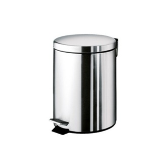 Round Polished Chrome Waste Bin With Pedal Gedy 2609-13