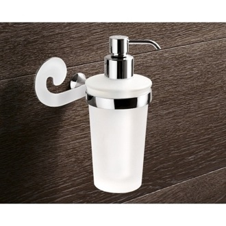 Soap Dispenser Wall Mounted Round Frosted Glass Soap Dispenser With Chrome Mounting Gedy 3381-13