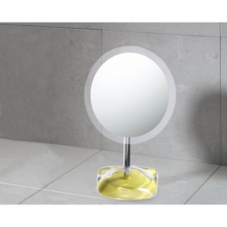 Magnifying Mirror with Round Avocado Green Colored Base Gedy 4607-68