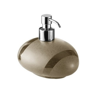 Soap Dispenser Round Moka or Beige Pottery Soap Dispenser Gedy 5081