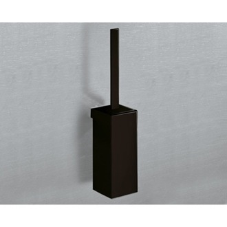 Wall Mounted Square Matte Black Toilet Brush Holder Gedy 5433-03-M4