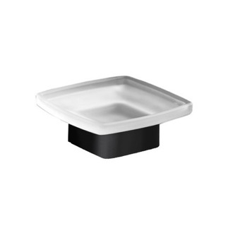 Soap Dish Square Frosted Glass Soap Dish with Matte Black Base Gedy 5451-M4