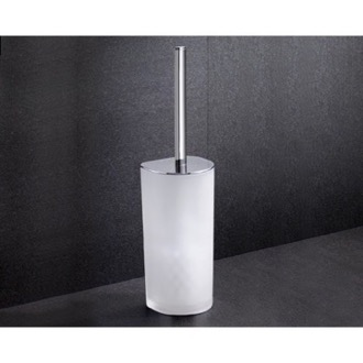Toilet Brush Frosted Glass Toilet Brush Holder With Chrome Base 5533-13 Gedy 5533-13