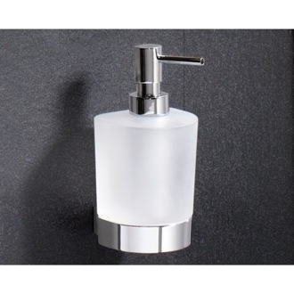 Soap Dispenser Wall Mounted Rounded Frosted Glass Soap Dispenser With Chrome Mounting 5581-13 Gedy 5581-13