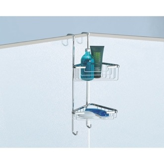 Over-the-Door Corner Double Shower Basket Gedy 5685