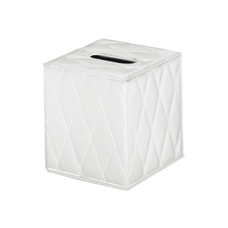 Tissue Box Cover White Square Faux Leather Tissue Box Cover 5902-24 Gedy 5902-24