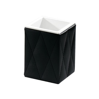 Black Faux Leather Toothbrush Holder Gedy 5998-55