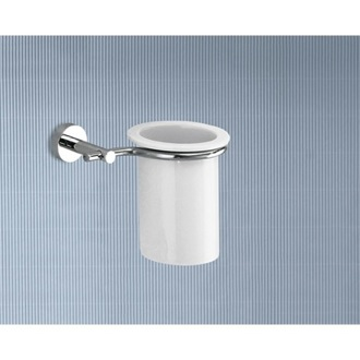 Wall Mounted Porcelain Toothbrush Holder With Chrome Mounting Gedy 6510-13