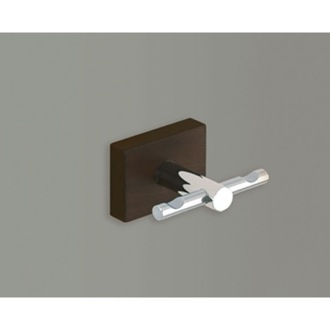 Bathroom Hook Chrome Double Robe Hook with Cherry or Washed Oak Wood Wall Mount Gedy 6626