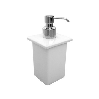 Soap Dispenser Square White Porcelain Soap Dispenser Gedy 6655-02