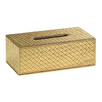 Tissue Box Cover Gold Faux Leather Tissue Box Cover Gedy 6708-87