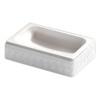 Pearl White Faux Leather Soap Dish Gedy 6711-42