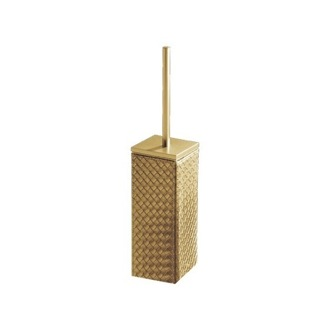 Toilet Brush Gold Faux Leather Toilet Brush Holder Gedy 6733-87