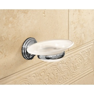 Soap Dish Wall Mounted Frosted Glass Soap Dish With Chrome Mounting 7511-13 Gedy 7511-13