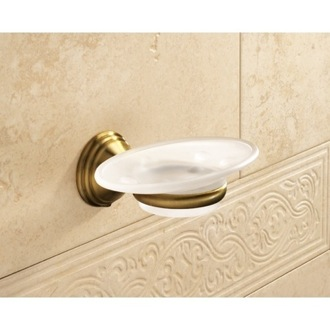 Soap Dish Wall Mounted Frosted Glass Soap Dish With Bronze Mounting 7511-44 Gedy 7511-44