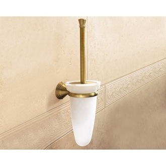Toilet Brush Wall Mounted Glass Toilet Brush Holder With Bronze Mounting Gedy 7533-03-44