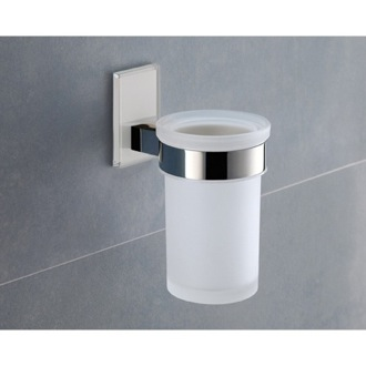 Toothbrush Holder Wall Mounted Frosted Glass Toothbrush Holder With White Mounting Gedy 7810-02