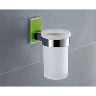 Wall Mounted Frosted Glass Toothbrush Holder With Green Mounting Gedy 7810-04