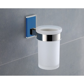 Toothbrush Holder Wall Mounted Frosted Glass Toothbrush Holder With Blue Mounting Gedy 7810-05