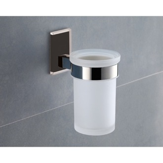 Toothbrush Holder Wall Mounted Frosted Glass Toothbrush Holder With Black Mounting Gedy 7810-14