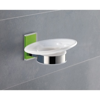 Wall Mounted Round Frosted Glass Soap Dish With Green Mounting Gedy 7811-04