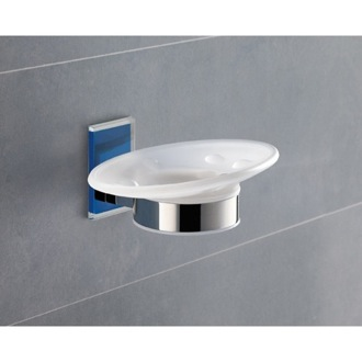 Wall Mounted Round Frosted Glass Soap Dish With Blue Mounting Gedy 7811-05