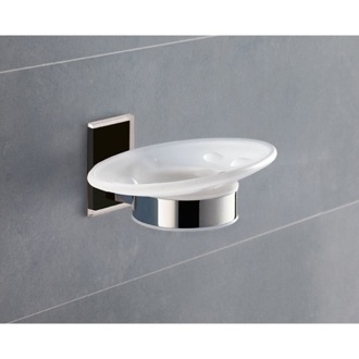 Soap Dish Wall Mounted Round Frosted Glass Soap Dish With Black Mounting Gedy 7811-14