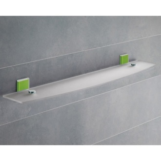Green Mounting Frosted Glass Bathroom Shelf Gedy 7819-60-04