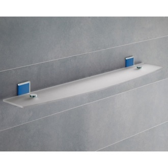 Bathroom Shelf Blue Mounting Frosted Glass Bathroom Shelf 7819-60-05 Gedy 7819-60-05