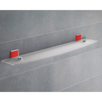 Bathroom Shelf Red Mounting Frosted Glass Bathroom Shelf 7819-60-06 Gedy 7819-60-06