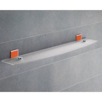 Bathroom Shelf Orange Mounting Frosted Glass Bathroom Shelf 7819-60-67 Gedy 7819-60-67
