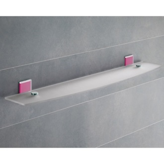 Bathroom Shelf Pink Mounting Frosted Glass Bathroom Shelf 7819-60-76 Gedy 7819-60-76