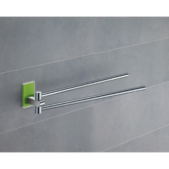 14 Inch Polished Chrome Swivel Towel Bar With Green Mounting Gedy 7823-04