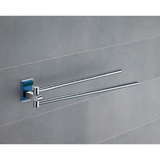 Swivel Towel Bar 14 Inch Polished Chrome Swivel Towel Bar With Blue Mounting 7823-05 Gedy 7823-05