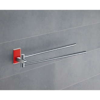Swivel Towel Bar 14 Inch Polished Chrome Swivel Towel Bar With Red Mounting 7823-06 Gedy 7823-06