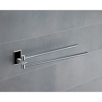 Swivel Towel Bar 14 Inch Polished Chrome Swivel Towel Bar With Black Mounting 7823-14 Gedy 7823-14