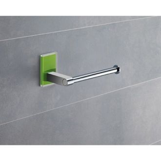 Modern Round Chrome Toilet Roll Holder With Green Mounting Gedy 7824-04
