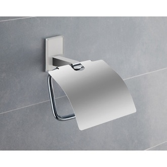Toilet Paper Holder Chromed Brass Covered Toilet Roll Holder With White Mounting 7825-02 Gedy 7825-02