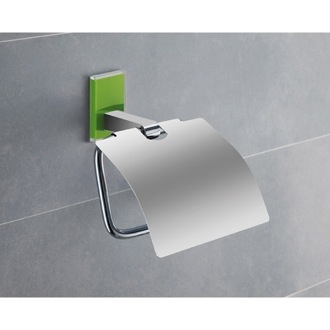 Chromed Brass Covered Toilet Roll Holder With Green Mounting Gedy 7825-04