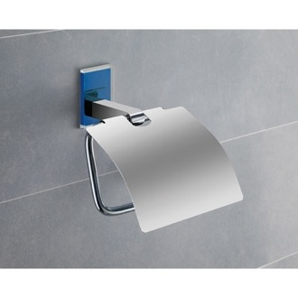 Toilet Paper Holder Chromed Brass Covered Toilet Roll Holder With Blue Mounting 7825-05 Gedy 7825-05