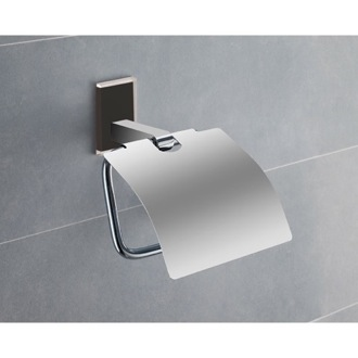 Toilet Paper Holder Chromed Brass Covered Toilet Roll Holder With Black Mounting 7825-14 Gedy 7825-14