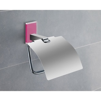 Toilet Paper Holder Chromed Brass Covered Toilet Roll Holder With Pink Mounting 7825-76 Gedy 7825-76