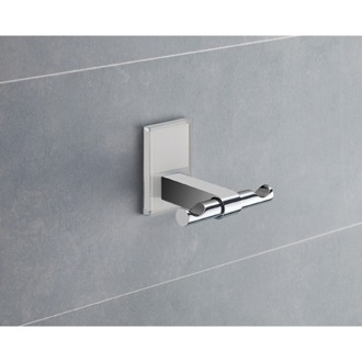 Bathroom Hook White Mounting Polished Chrome Double Hook Gedy 7826-02