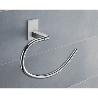 Towel Ring Round White Mounting Polished Chrome Towel Ring 7870-02 Gedy 7870-02