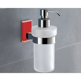 Soap Dispenser Frosted Glass Soap Dispenser With Red Mounting Gedy 7881-06