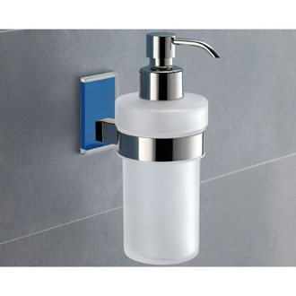 Wall Mounted Frosted Glass Soap Dispenser With Blue Mounting Gedy 7881-05