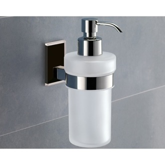 Soap Dispenser Wall Mounted Frosted Glass Soap Dispenser With Black Mounting 7881-14 Gedy 7881-14